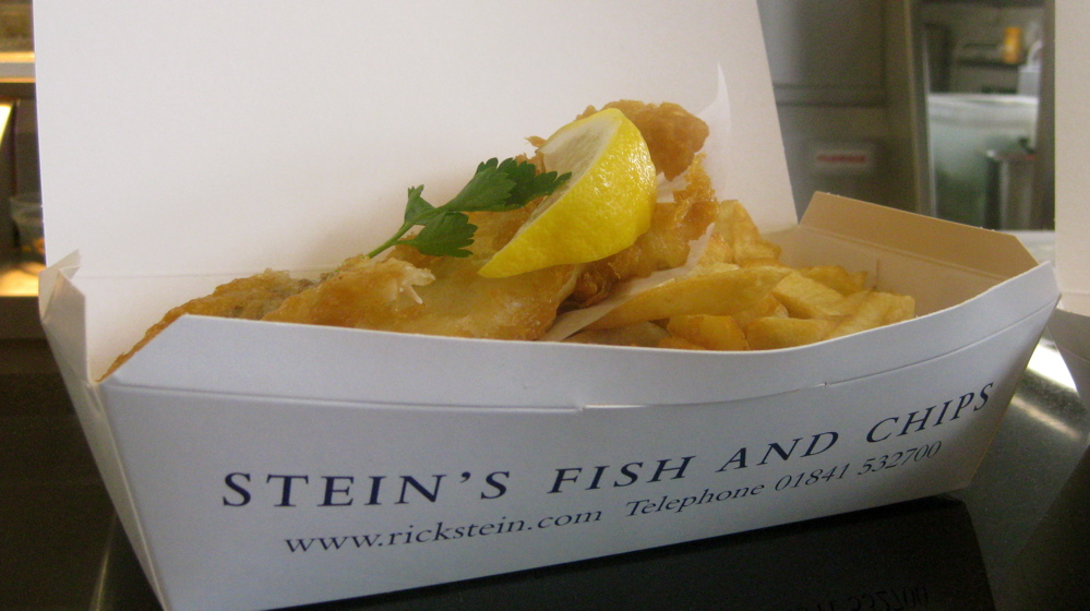 Uk s first review of rick stein s fish and chips in for Rick s fish and pet