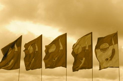 jubilee pool penzance cornwall flags