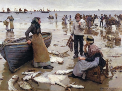 28 - Plymouth - Stanhope Forbes - A Fish Sale on a Cornish Beach - Hi Res