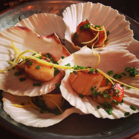 scallops with a shard of lemon